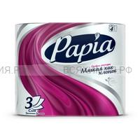 ХАЯТ Papia Туалетная бумага белая 3-х сл. 4 шт  *14