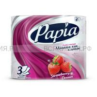 ХАЯТ Туалетная бумага ароматизированная Papia® белая с рисунком, тиснением и перфорацией. Strawberry Dream - Клубничная Mечта.