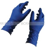 Перчатки Хайриск S латексные универсальные  50 шт. в коробке синие (10) (С)