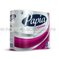 """ХАЯТ  """"Papia Deluxe"""" Туалетная бумага белая четырёхслойная  4 шт   *14"""