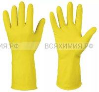 Перчатки латексные цветные  М желтые  (240) (С)