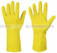 Перчатки латексные цветные  М желтые  (144) (С)