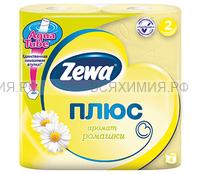 Туалетная бумага Zewa+ 2-х сл. 4 шт. *24 ромашка