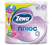 Туалетная бумага Zewa+ 2-х сл. 4 шт. *24 сирень