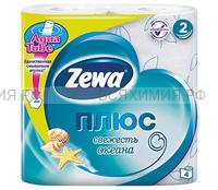 Туалетная бумага Zewa+ 2-х сл. 4 шт. *24 свежесть океана