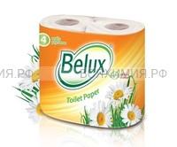 Туалетная бумага BELUX 2-х сл. 4шт. белая *12