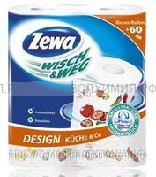 Полотенца Zewa Wisch&Weg 2-х сл. 2 шт. белые с рисунком *9