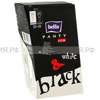 Белла Панти Слим Черные +белые 40шт *12* 130