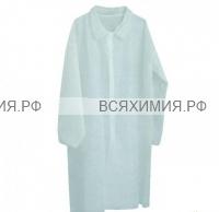 Халат Медецинский защитный Белый на кнопках (рукава на резинках) дл.110см, раз.52-54 *5*100