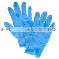 Перчатки виниловые L 100 шт синие *1