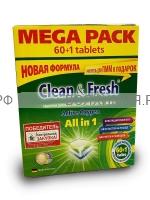 Таблетки для ПММ Clean & Fresh 5 в 1 (мега) 60 штук 1*6