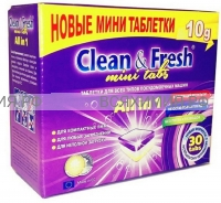 Таблетки для ПММ Clean & Fresh Allin1 mini tabs (midi) 30 штук *4*12