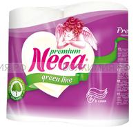 Туалетная бумага Nega Premium белая 3-х сл. 4 шт. белая *12