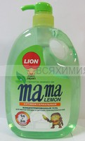 Mama Lemon концентрированый гель для посуды и детских принадлежностей КУРОК с ЗЕЛеНЫМ ЧАЕМ 1л 6*12