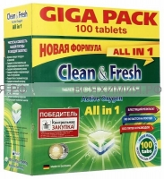 Таблетки для ПММ Clean & Fresh Allin1 (giga) 100 штук *1*6