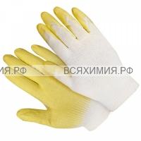 ПЕРЧАТКИ Х/Б с латексным покрытием (Желтые) *10*300