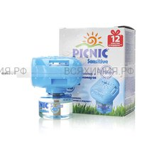 Picnic Sensitive Комплект фумигатор + жидкость от комаров 45 ночей 30мл (12 пластин в подарок)
