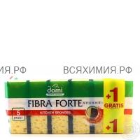 DOMI Губки для посуды большие Крупнопористые Fibra Forte 5шт + 1шт в Подарок *40