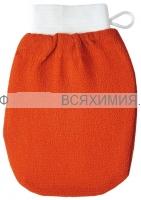 We're we care Мочалка (Рукавица Кесса) для пилинга и очищения кожи, оранж. (средняя жесткость) *1*20