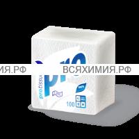 Салфетки 100 л. 24x24 однослойные белые Protissue * 40
