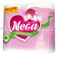 Туалетная бумага Nega Classic белая 2-х сл. 4 шт. *12