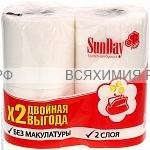 Туалетная бумага SunDay 2-х сл  4 шт *24 / 384