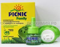 Picnic Family Комплект фумигатор + жидкость от комаров 45 ночей без запаха 30мл 03.19