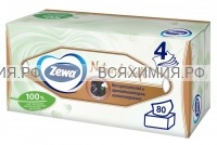 Косметические салфетки ZEWA Natural Soft 4-х слойные 80 листов *12