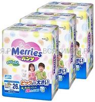 MERRIES Трусики-подгузники для детей размер XXL 15-28 кг /26шт *1*3
