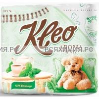 """Туалетная бумага """"Ь"""" KLEO 3-х сл. 4 шт. АРОМА Мята (18)"""